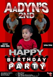 Aadyn 2nd Birthday flyer