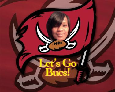 Angie head on Bucs flag edit