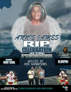 Annie James RIP flyer