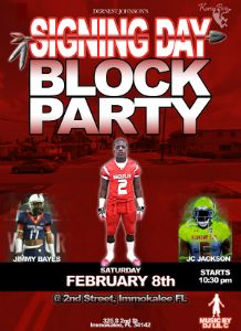 Dernest Johnson Signing Day Block Party flyer