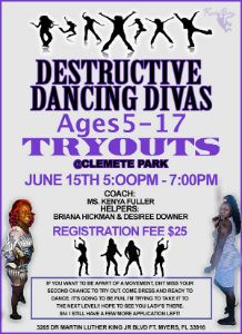 Destructive Dancing Divas tryout flyer