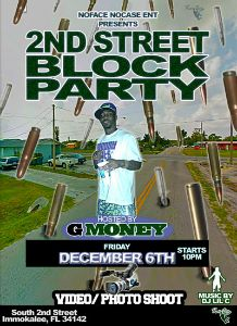 G Money 2ndStreet BlockParty flyer