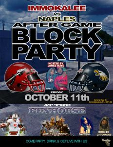 Immokalee vs Naples Aftergame Block Party flyer