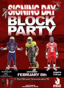 JcJ ackson, Dernest Johnson, Jimmy Bayes Signing Day Block Party flyer