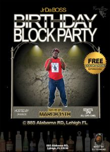 Jr Da Boss Birthday Block Party flyer
