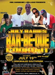 July Babies Cookout flyer