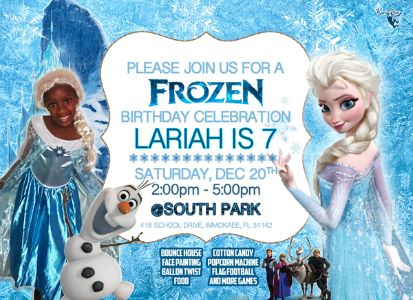 Lariahs 7th Birthday Party flyer