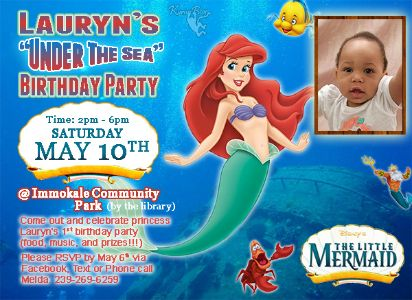 "Lauryn ""Under The Sea"" Birthday Party flyer"
