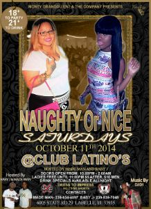 Naughty Or Nice Saturdays Oct 11th 2014 flyer