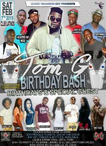 Tom G Birthday Bash Special Guest flyer
