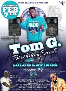 Tom G Birthday Bash 2015 flyer