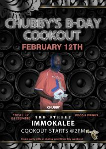 Chubby B-Day Cookout flyer