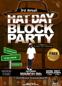 "Richard ""Hat"" Armstrong 3rd Annual Block Party Flyer"